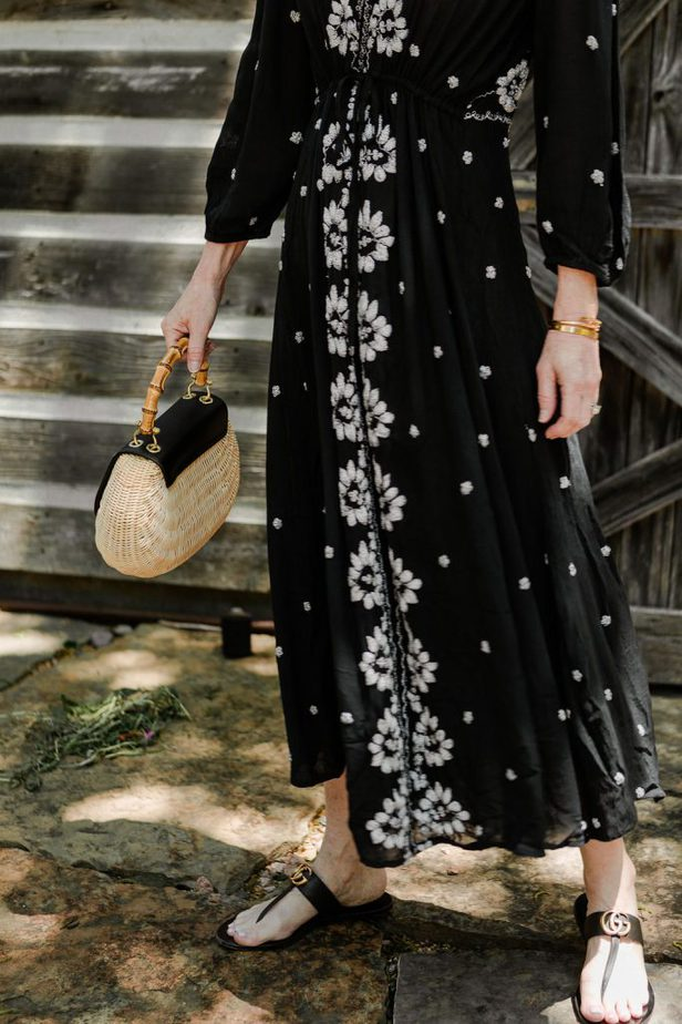 Free People Black Embroidered Dress on Dallas Blogger
