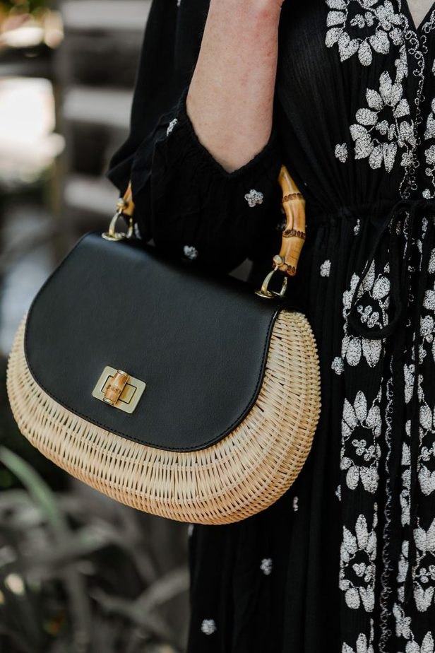 Straw and Black Top Handle Bag on Dallas Blogger