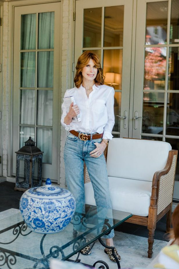 White Button-Down, Jeans, and Gucci Belt on Middle Age Blogger