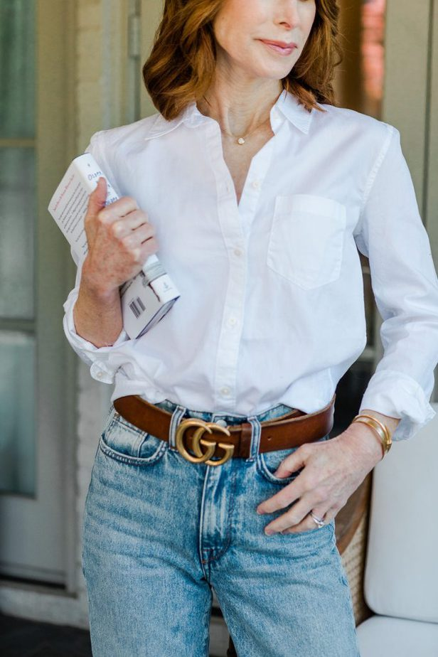 White Button-Down Shirt with Gucci Belt