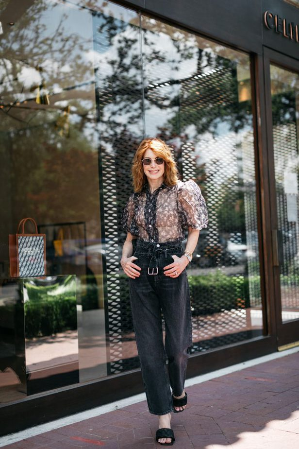 Puff Sleeve Floral Blouse and Black Paperbag Denim on Dallas Blogger