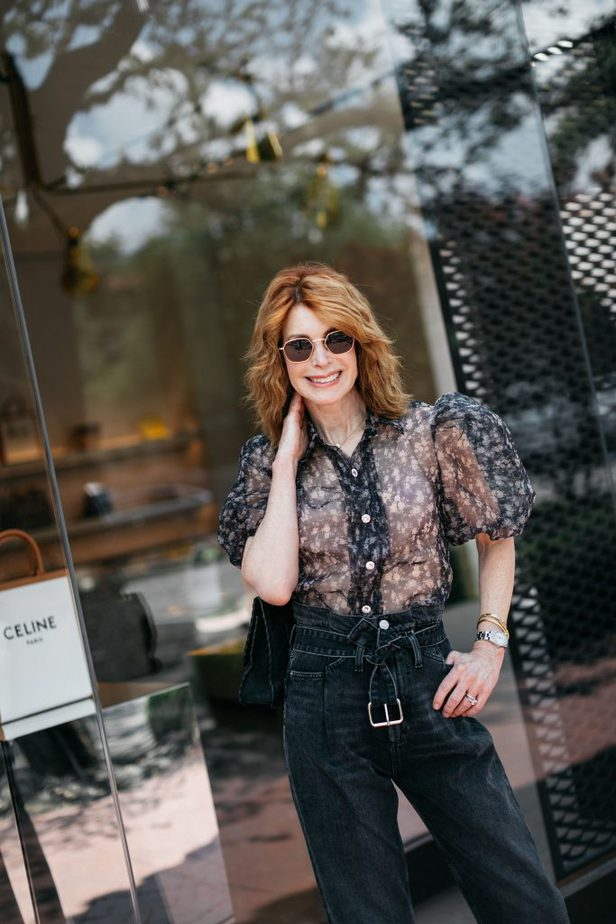 Older Dallas Blogger in Sheer Floral Puff Sleeve Blouse