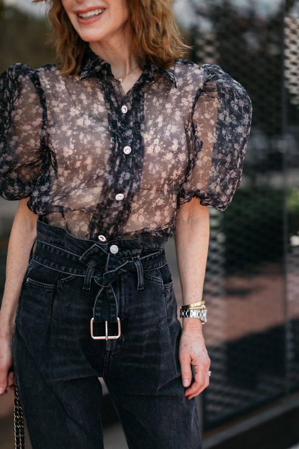 Black Floral Puff Sleeve Blouse and Paperbag Denim on Dallas Blogger
