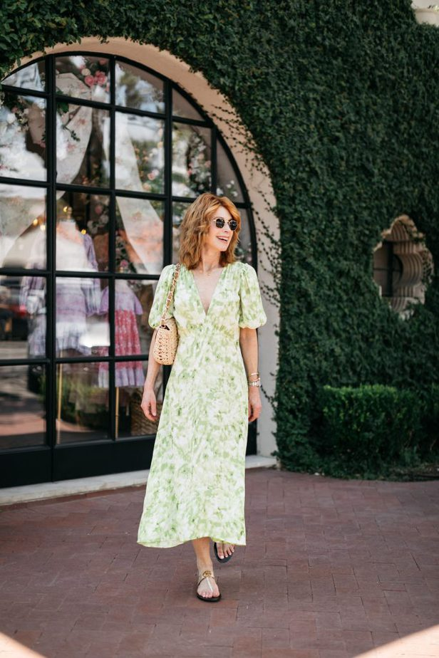 Over 50 Dallas Blogger Wearing Green Dress