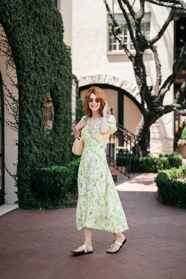 Green Floral Dress on Red Head Over 50 Blogger