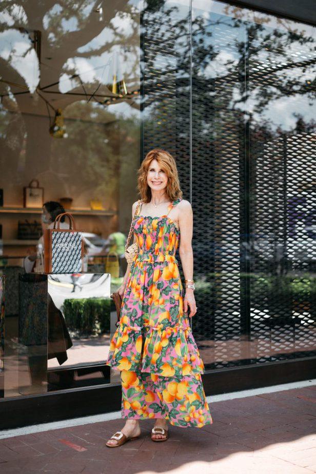 Dallas Blogger in Orange Print Summer Dress