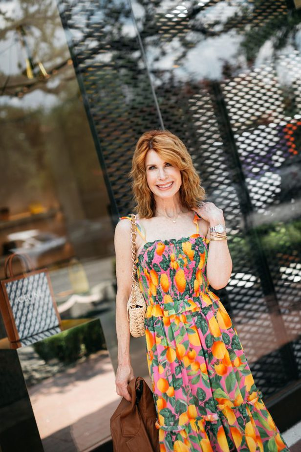 Orange Print Dress on Red Head Blogger