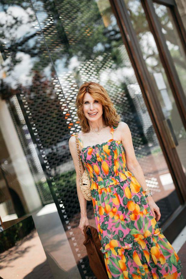 Farm Rio Orange Print Dress on Dallas Blogger