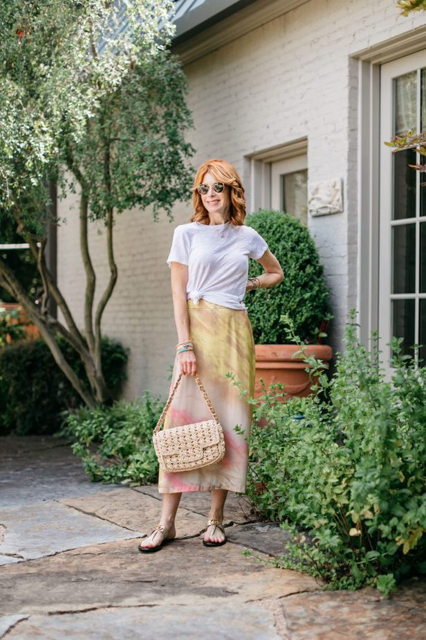 The Middle Page Blog in White Tee and Tie-Dye Skirt
