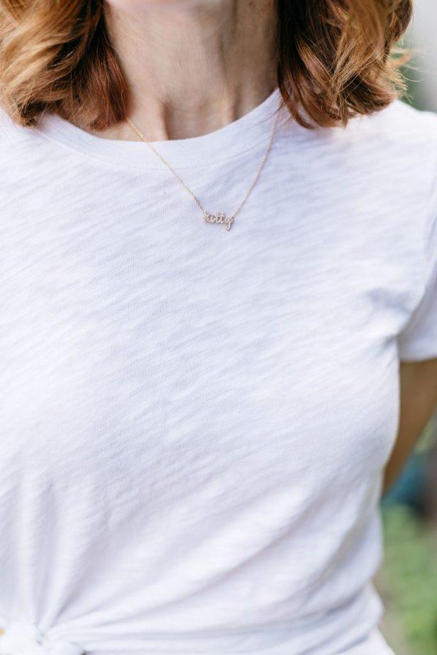 Dallas Blogger in Diamond Name Necklace from Susan Saffron Jewelry Boutique