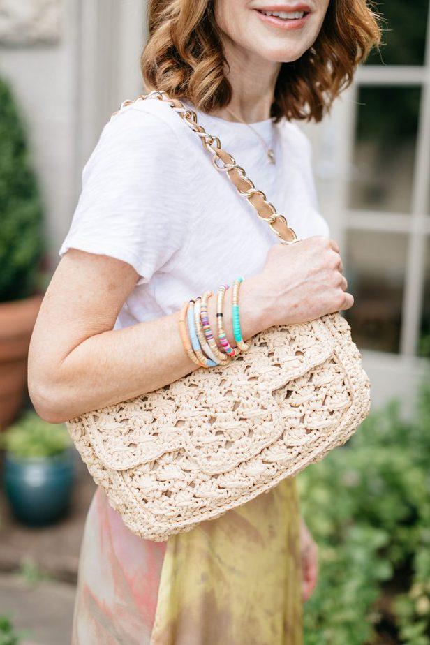 Dallas Blogger Wearing Allie & Bess Colorful Bracelets