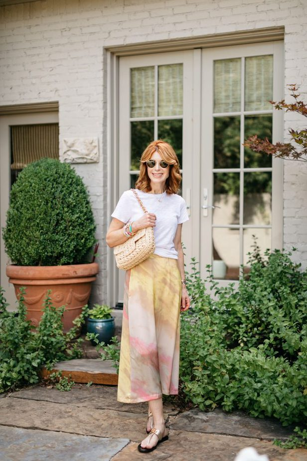 Dallas Older Blogger in Tie-Dye Skirt and Colorful Bracelets