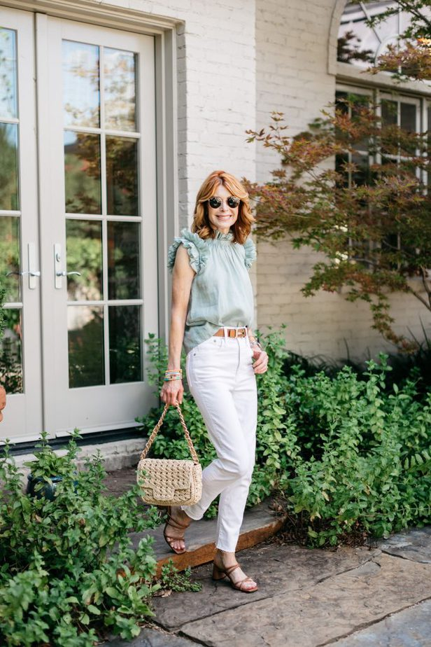 SEA NYC green ruffle top and Madewell White Denim on Dallas Blogger
