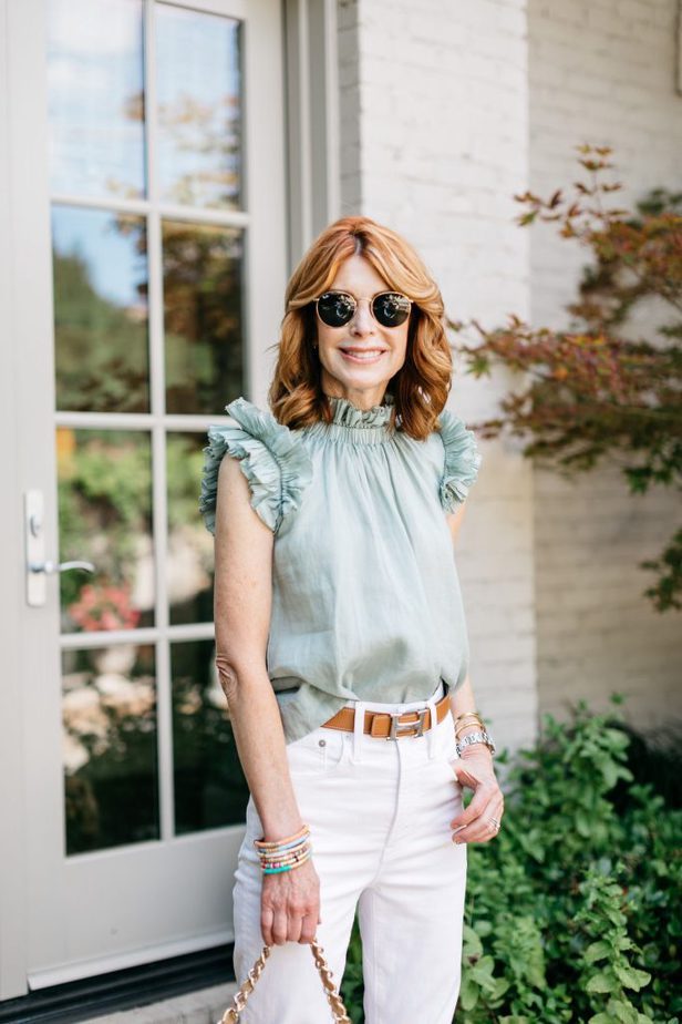 SEA NYC Lucy Pleated Tank Top on Dallas Blogger