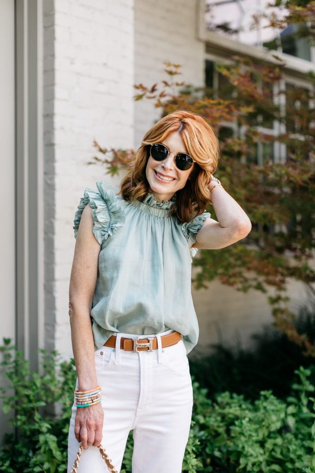 SEA NYC Lucy Ruffle Tank Top on Red Head Blogger