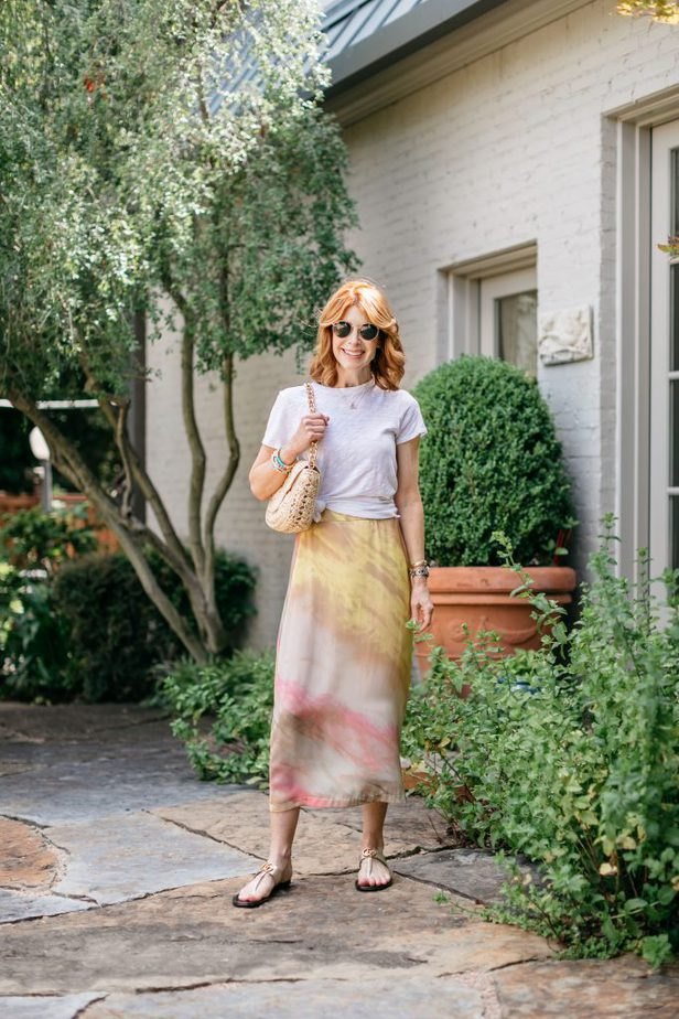 Dallas Blogger in White Tee and Tie-dye Skirt
