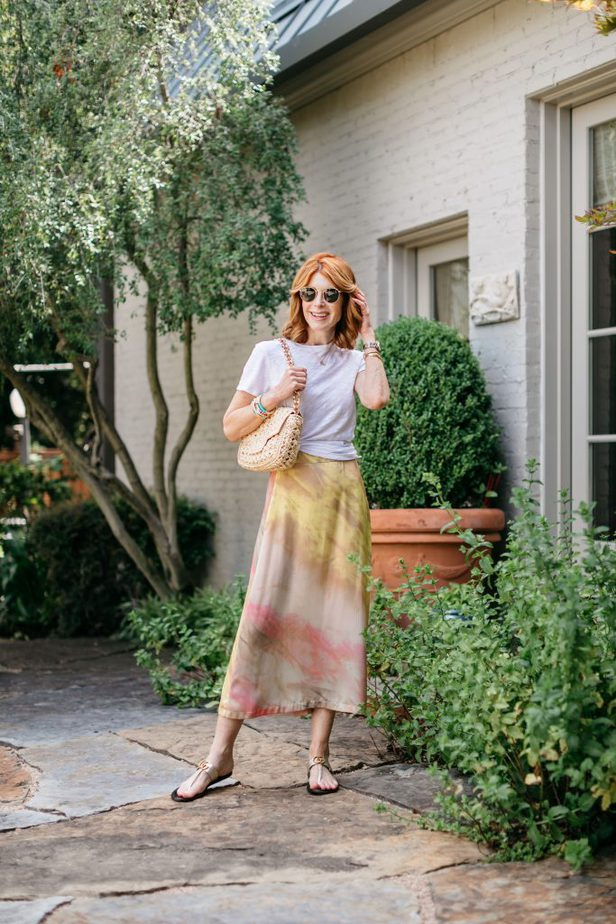 Red-haired Blogger in White Tee and Zara Tie-dye Skirt