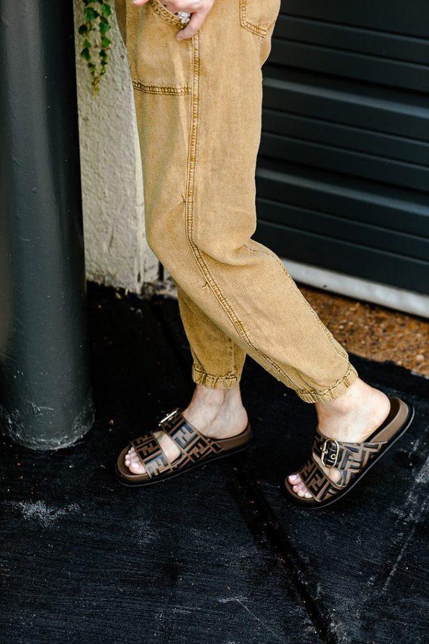 Tan Joggers with Fendi Slides