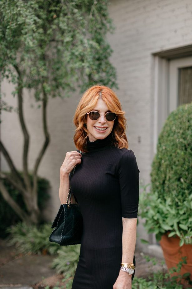 Dallas Red Head Blogger in simple Black Turtleneck Dress