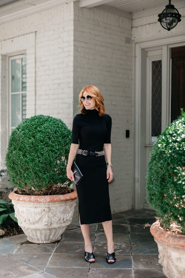 Dallas Blogger in Black Turtleneck Dress with Silver Belt