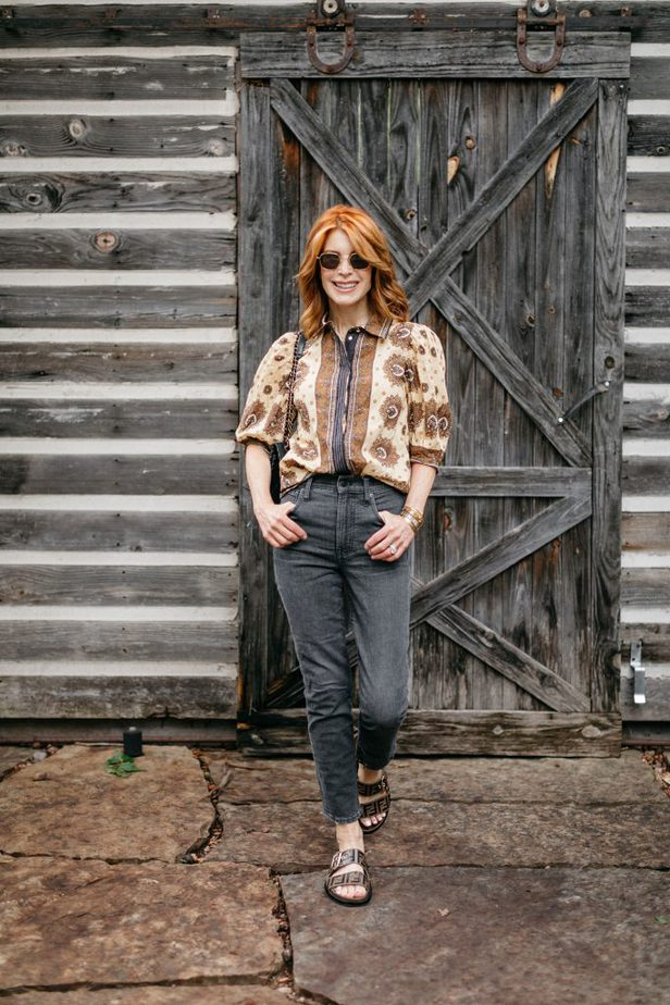 Printed Cotton French Girl Vibe Blouse on Dallas Blogger