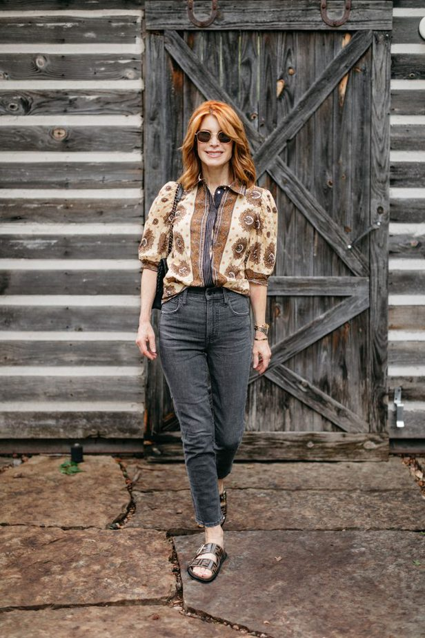French Girl Vibe Blouse and Black Jeans on Dallas Blogger
