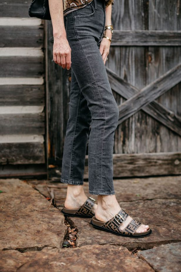 Fendi Slides on Dallas Blogger