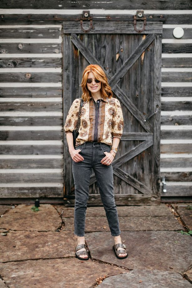 French Girl Vibe Print Blouse on Red Head Older Blogger