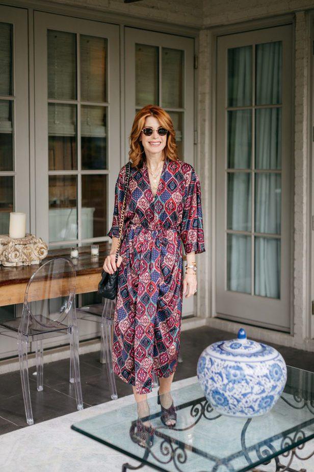 jewel tone print dress on Dallas blogger