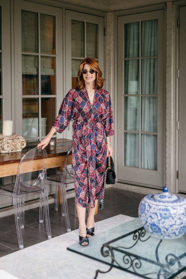 Jewel Tone print dress on red head blogger