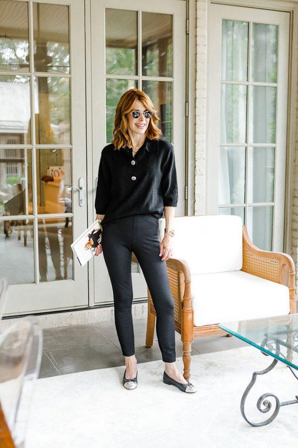 Dallas Blogger in Black Spanx and Black Sweater