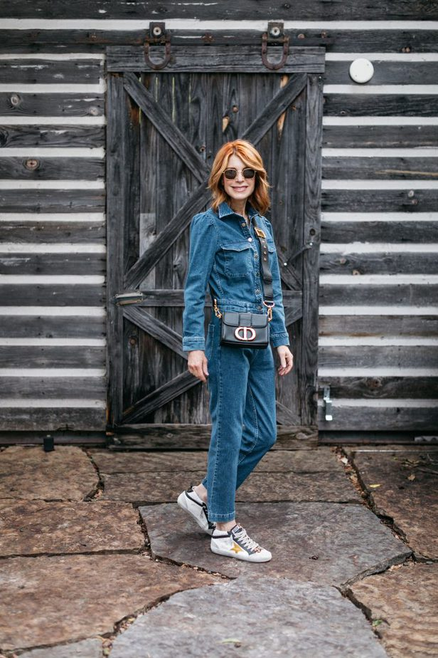 Denim Jumpsuit with Golden Goose Sneakers on Dallas Blogger