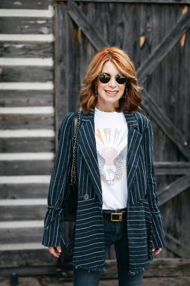 Free People Blue Stripe Blazer on Dallas Blogger