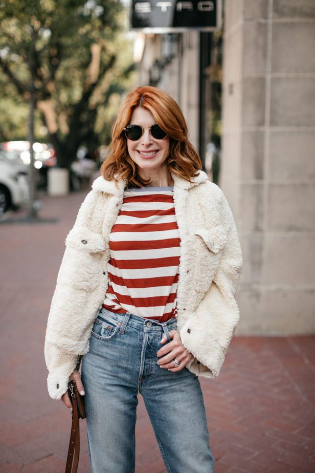 Dallas Blogger with Madewell Stripe Tee