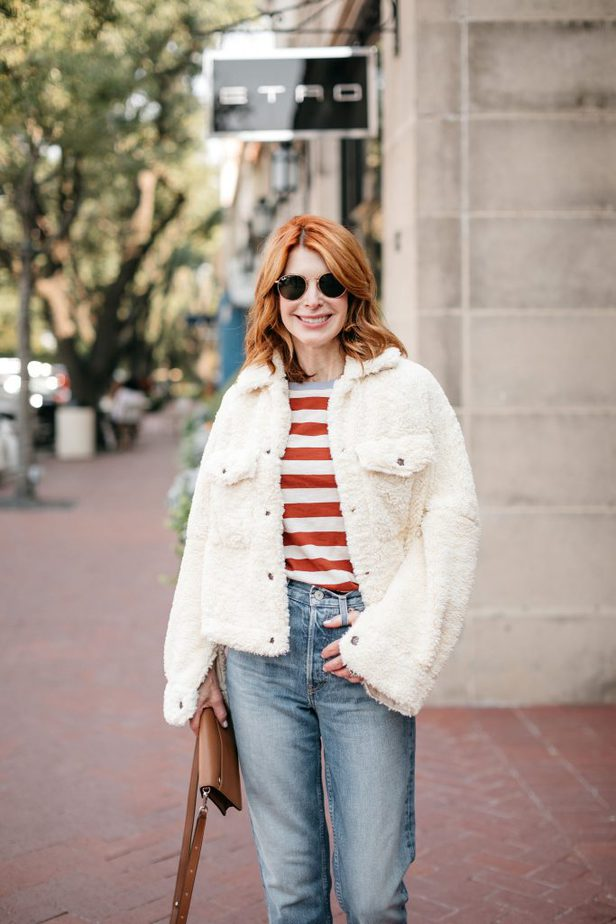 Dallas Blogger wearing White Free People Teddy Jacket