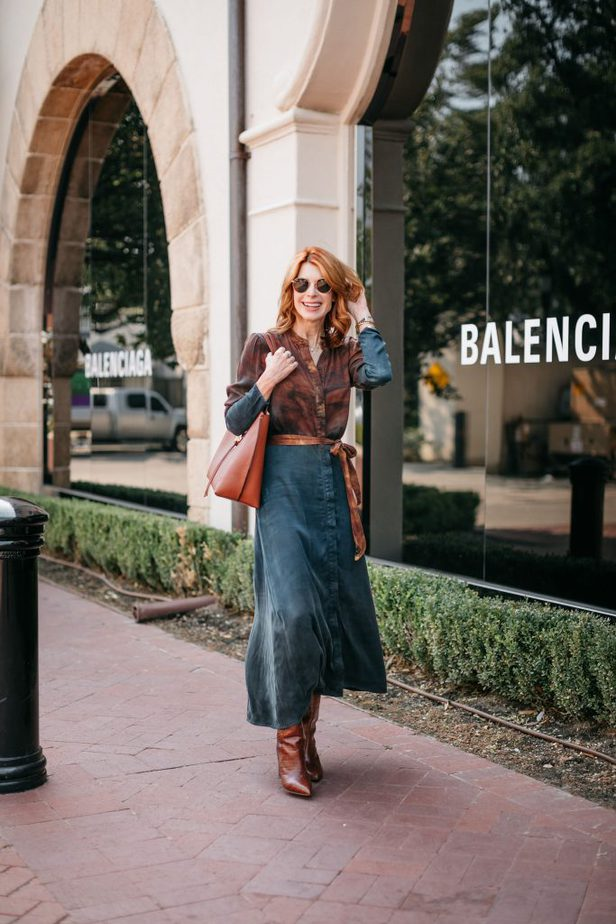 Thanksgiving Look #2 | Bella Dahl Brown and Blue Shirtdress on Dallas Blogger