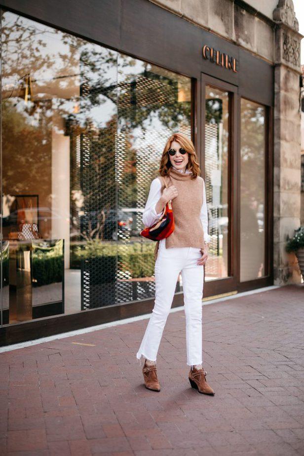 Dallas Blogger in Camel Sweater Vest