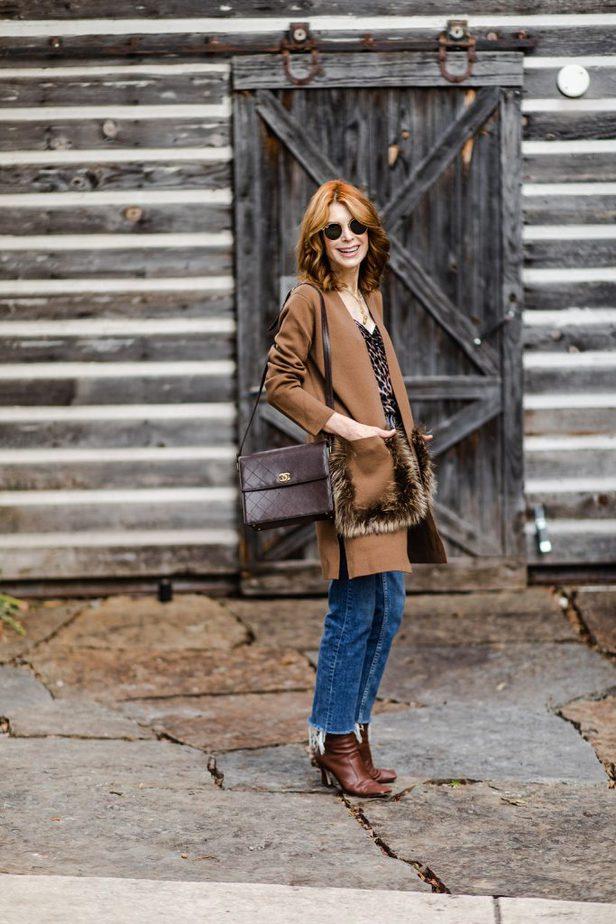 Dallas blogger in Kobi Halperin camel fur pocket sweater