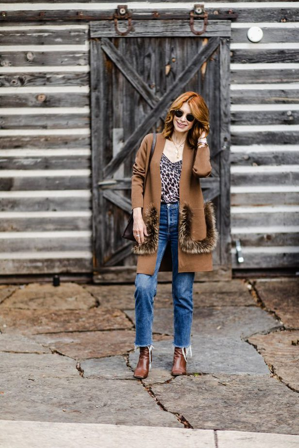 Kobi Halperin fur pocket sweater on Dallas Blogger