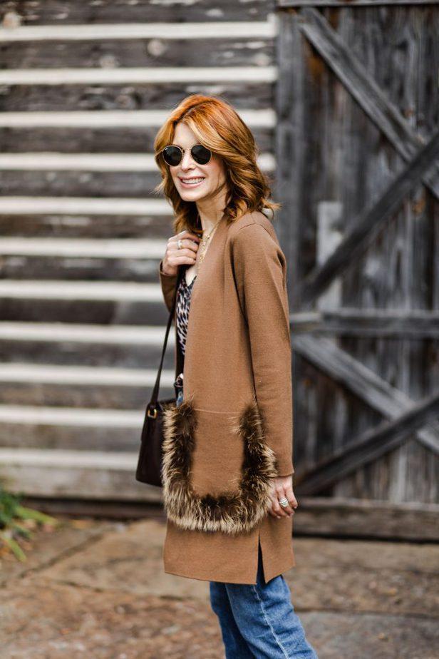 Dallas Older Blogger with Kobi Halperin Fur Pocket Sweater