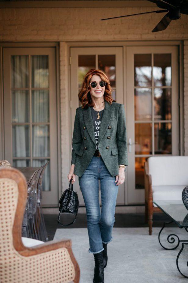 Green Empire Dickey Blazer on Dallas Blogger
