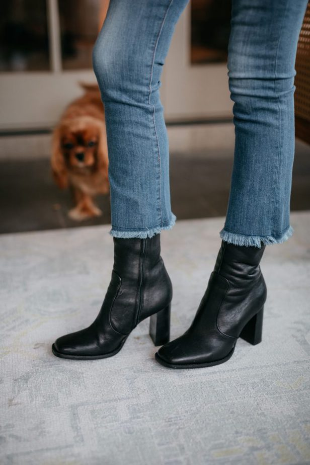 Black leather Brother Vellies boots on Dallas blogger