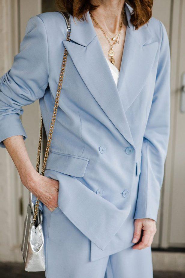 blue pantsuit outfit idea