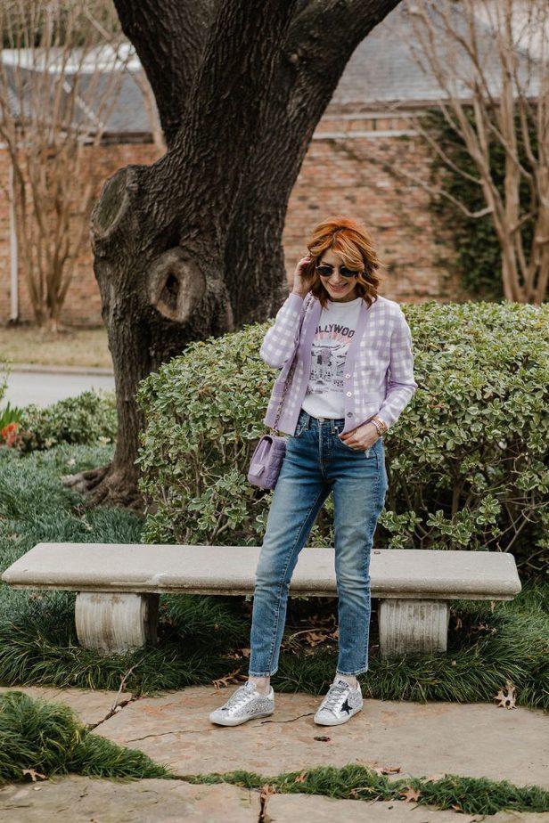 Dallas blogger in lavender and white check cardigan
