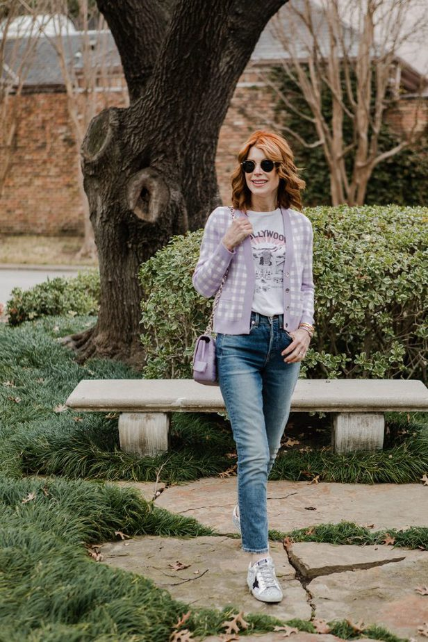 Lavender and white check cardigan on Dallas blogger