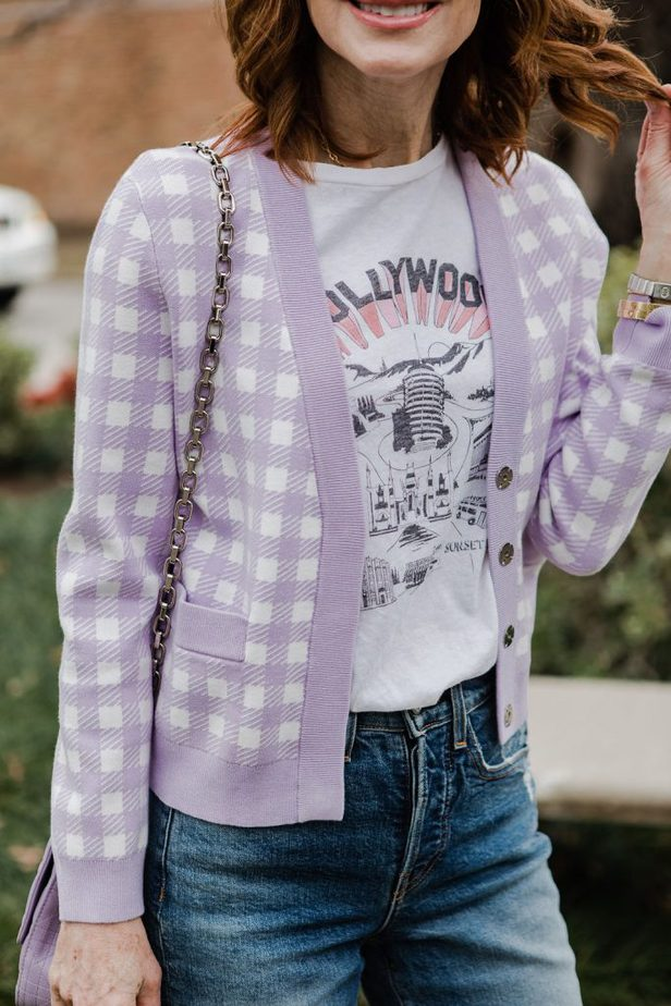 Lavender and white check cardigan with graphic tee on Dallas blogger