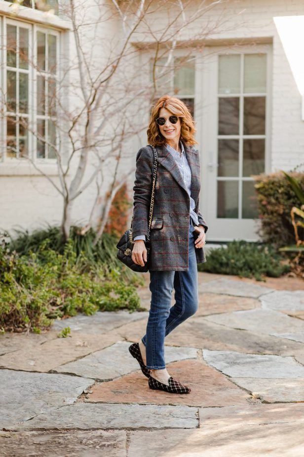 Double-Breasted Winter Blazer and Blue shirt on Dallas Blogger
