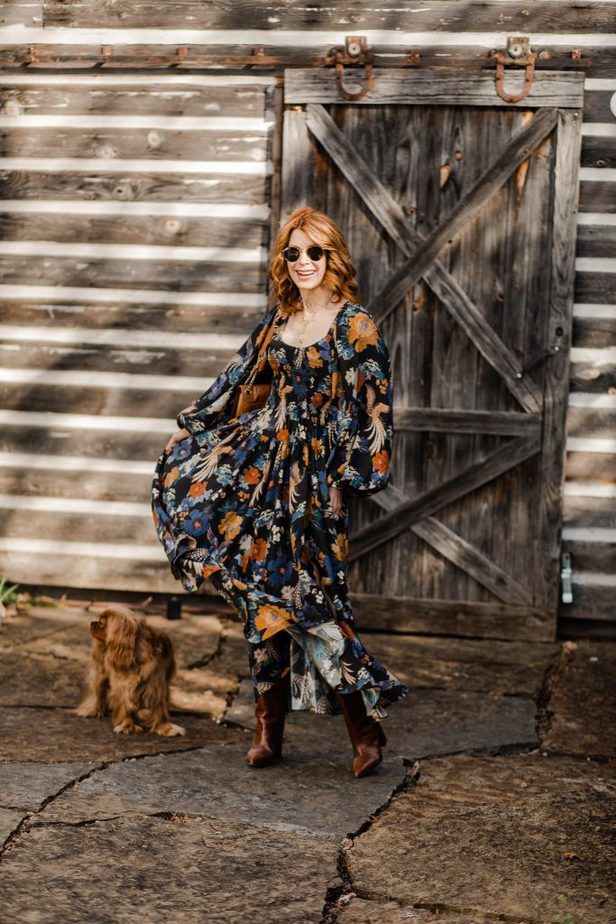 Red Head Dallas Blogger in Floral Dress to Wear Now and Later