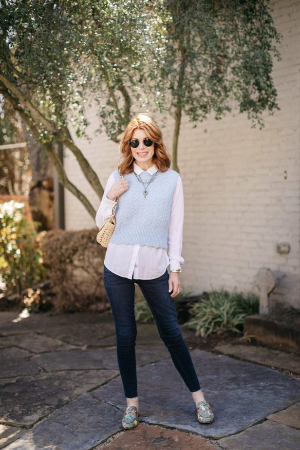 Dallas blogger in blue vest and jeans | bring back the sweater vest fashion