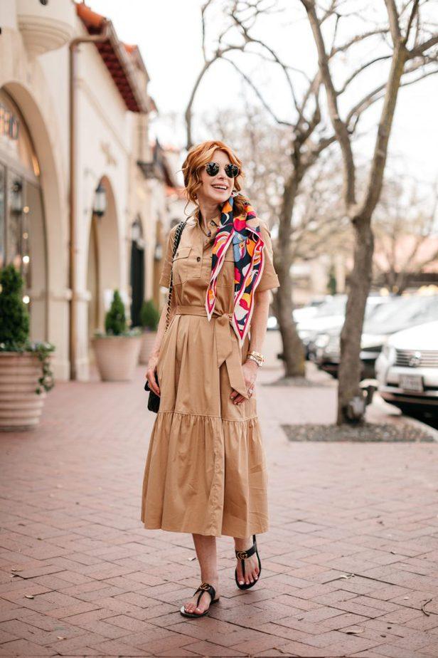 Dallas Blogger in tan colored dress   SAFARI-STYLE DRESS